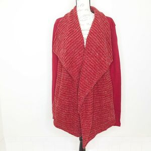 Lucky Brand Red Metallic Open Front Cardigan